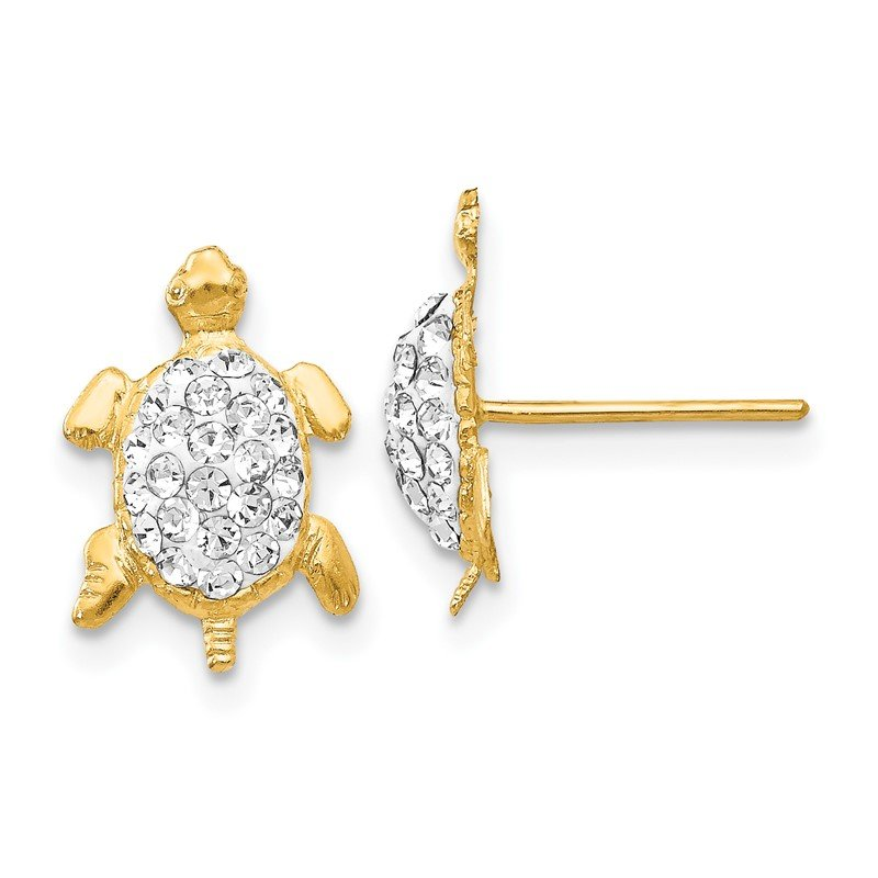 Quality Gold 14k Crystal White Turtle Post Earrings