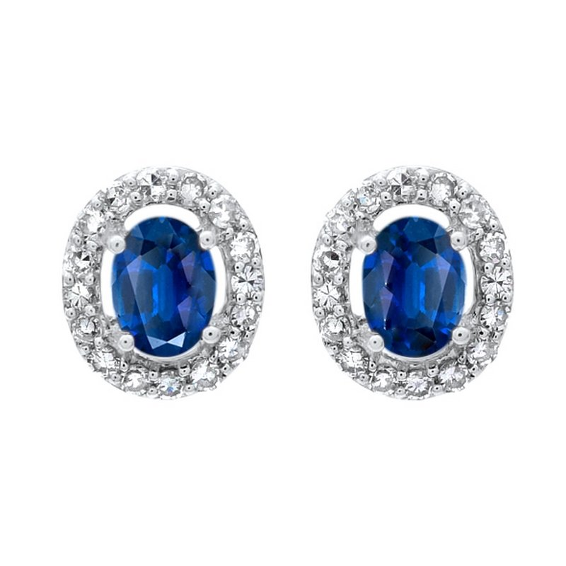Gems One Diamond Halo and Sapphire Prong Set Earrings in 10K White Gold (1/100 ct. tw.)