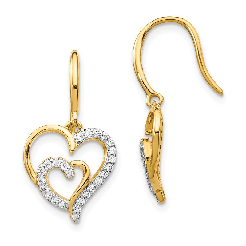 Cheryl M Cheryl M Sterling Silver Gold-plated CZ Heart Shepherd Hook Earrings