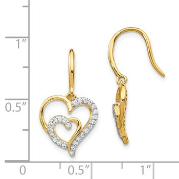 Cheryl M SS Gold Plated CZ Heart Shepherd Hook Earrings