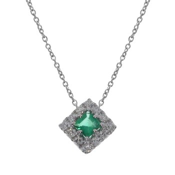 14k White Gold Princess Emerald Pendant