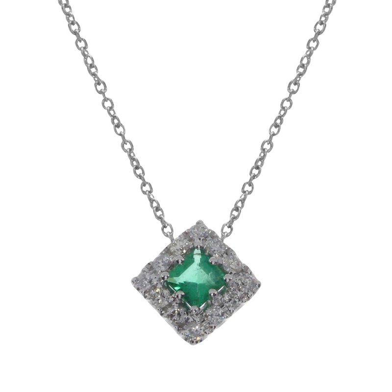 Color Merchants 14k White Gold Princess Emerald Pendant