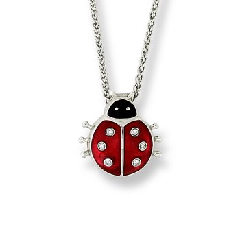 Red Ladybug Necklace.Sterling Silver-White Sapphire