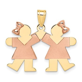 14k Two-Tone Small Double Girls Engravable Charm