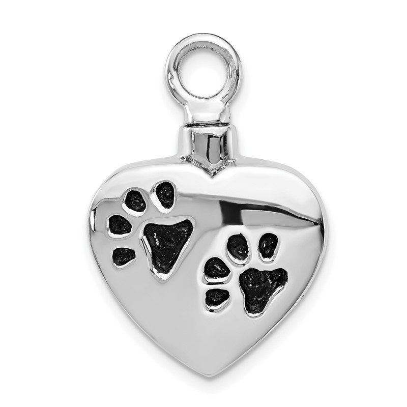 Quality Gold Sterling Silver Rhodium-plated Enameled Paw Prints Heart Ash Holder
