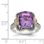 Shey Couture Sterling Silver w/14k Antiqued Amethyst and Diamond Ring