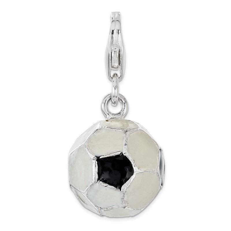 Quality Gold Sterling Silver Polished Enamel Soccer Ball w/ Lobster Clasp Charm