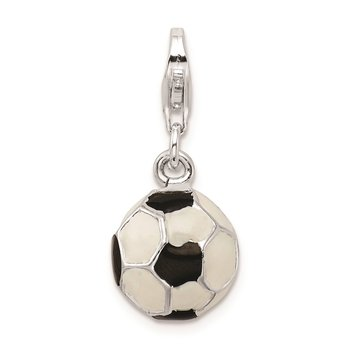 Sterling Silver RH Polished Enamel Soccer Ball w/ Lobster Clasp Charm