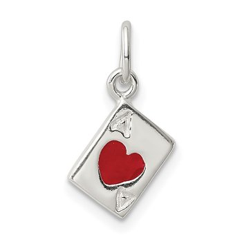 Sterling Silver Enameled Ace Of Hearts Card Charm