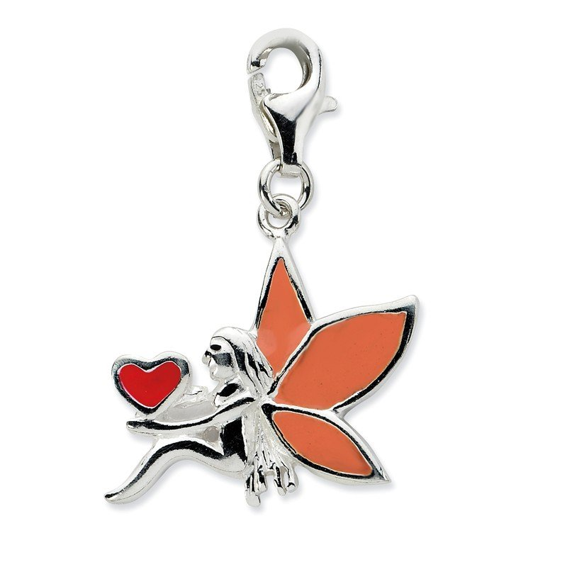 Quality Gold Sterling Silver Enameled Fairy w/Heart w/Lobster Clasp Charm