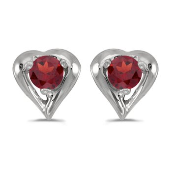 10k White Gold Round Garnet Heart Earrings