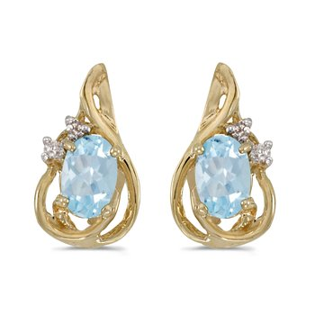 10k Yellow Gold Oval Aquamarine And Diamond Teardrop Earrings