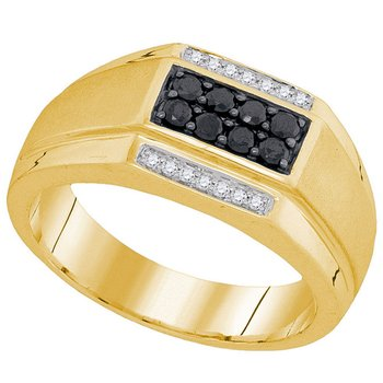 10kt Yellow Gold Mens Round Black Color Enhanced Diamond Rectangle Cluster Ring 3/8 Cttw