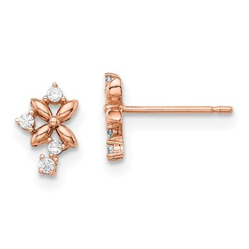 14k Madi K Rose Gold CZ Post Earrings