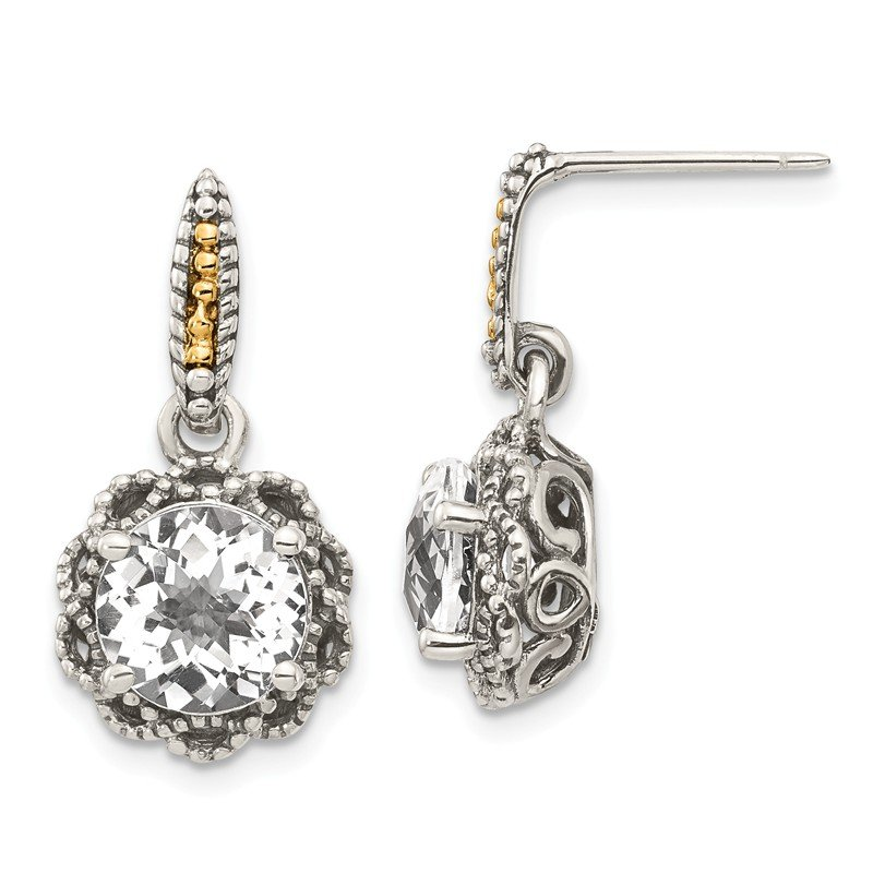 Shey Couture Sterling Silver w/ 14k Polished White Topaz Earrings