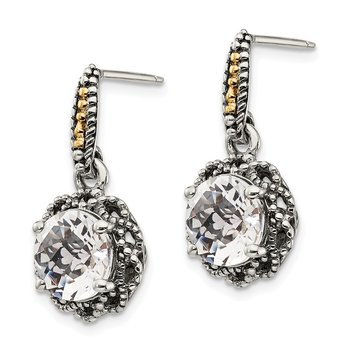 Sterling Silver w/ 14k Polished White Topaz Earrings