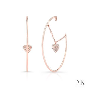 Rose Gold Dangling Heart Hoop