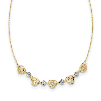 14k Two-tone Diamond-cut Beads & Knots Necklace