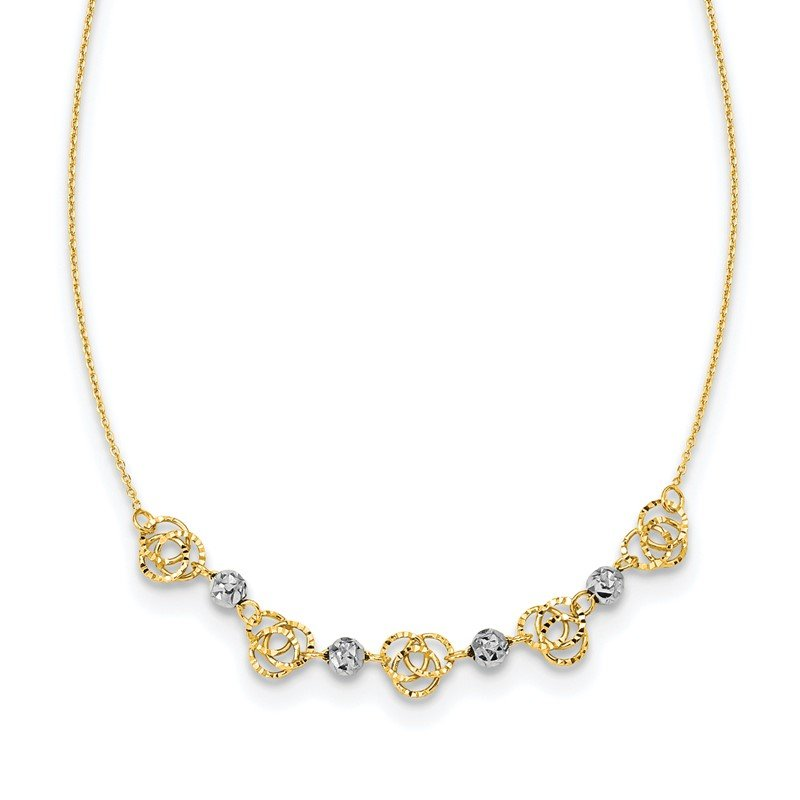 Quality Gold 14k Two-tone Diamond-cut Beads & Knots Necklace