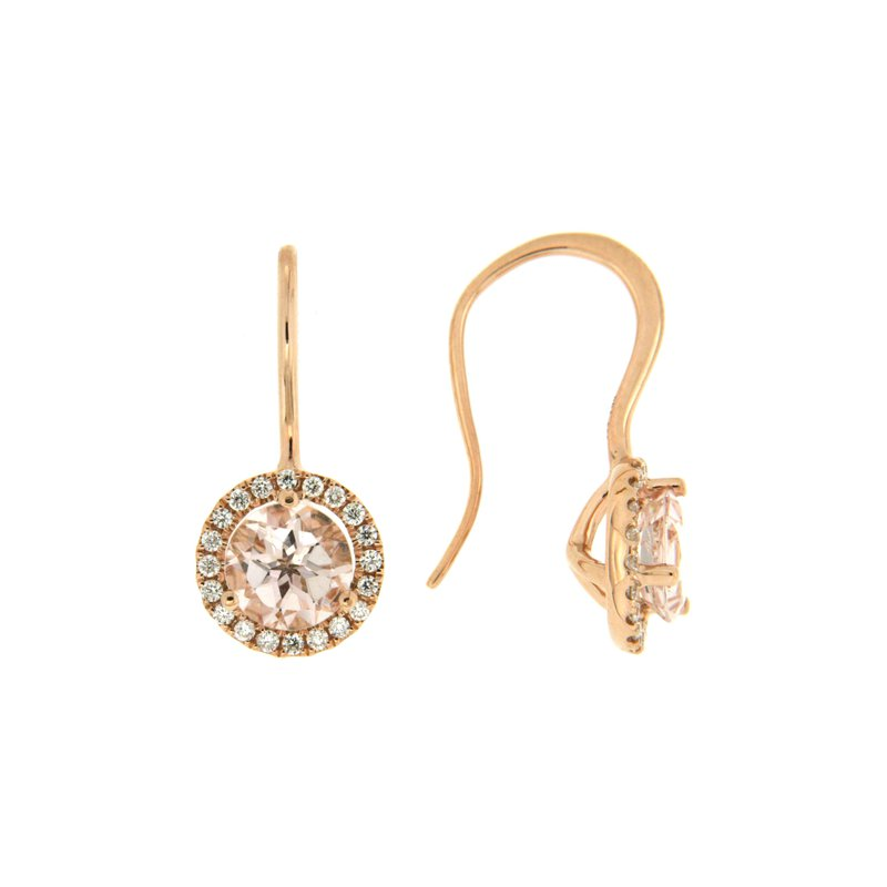 Paragon Fine Jewellery 14k Rose Gold Earrings with Morganite & Diamond