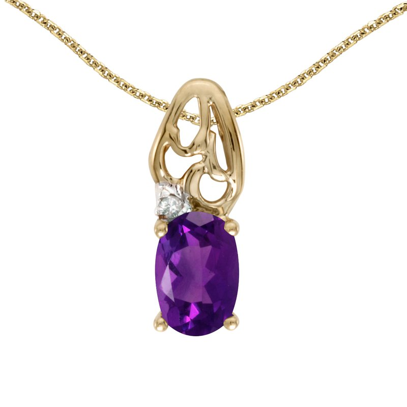 Color Merchants 10k Yellow Gold Oval Amethyst And Diamond Pendant