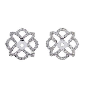 14K White Gold Flower Diamond Earring Jackets