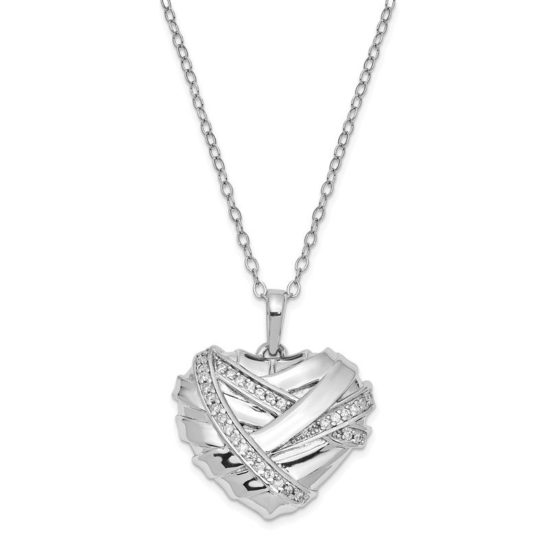 Quality Gold Sterling Silver CZ Bandaged Heart Ash Holder 18in. Necklace