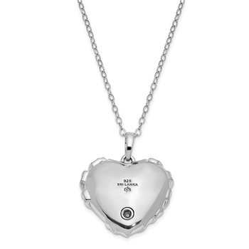 Sterling Silver CZ Bandaged Heart Ash Holder 18in. Necklace