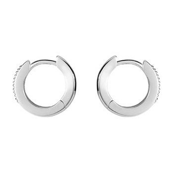 14K White 1/10 CTW Diamond Hoop Earrings