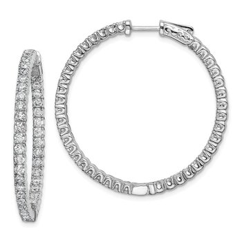 Sterling Silver Rhodium-plated CZ 80 Stones In & Out Hoop Earrings