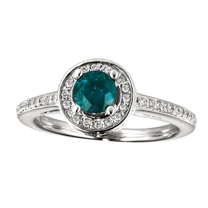 Color Merchants 14k White Gold Emerald and Diamond Double Circle Ring
