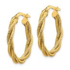 Quality Gold 14k Polished Textured Twisted Oval Hoop Earrings
