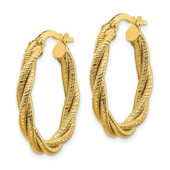 14k Polished Textured Twisted Oval Hoop Earrings