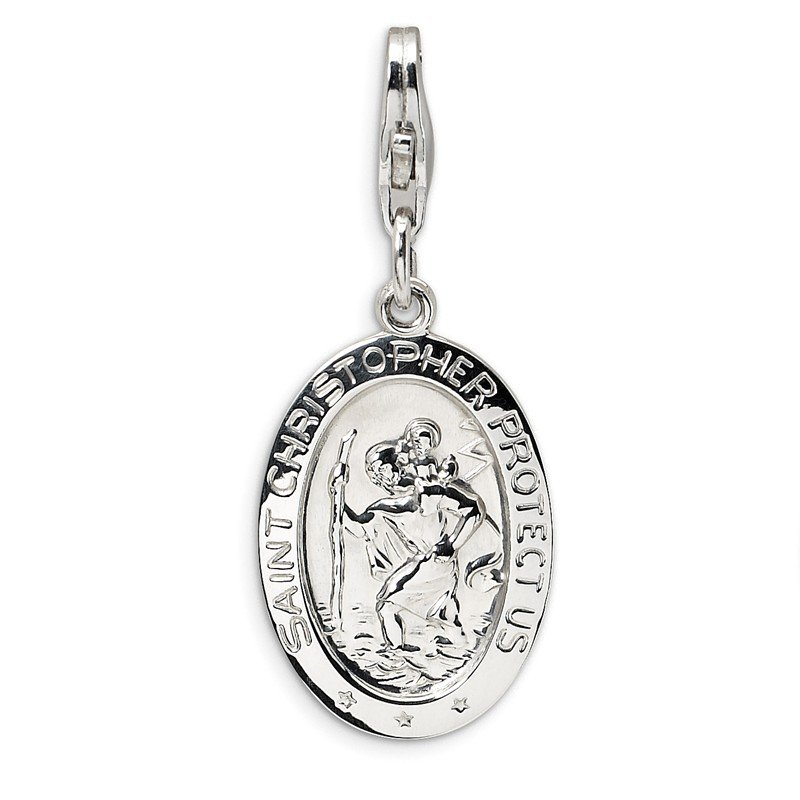 Quality Gold Sterling Silver St. Christopher Medal w/Lobster Clasp Charm