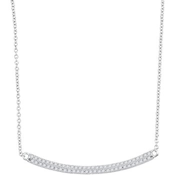 10kt White Gold Womens Round Diamond Curved Horiontal Bar Pendant Necklace 1/3 Cttw