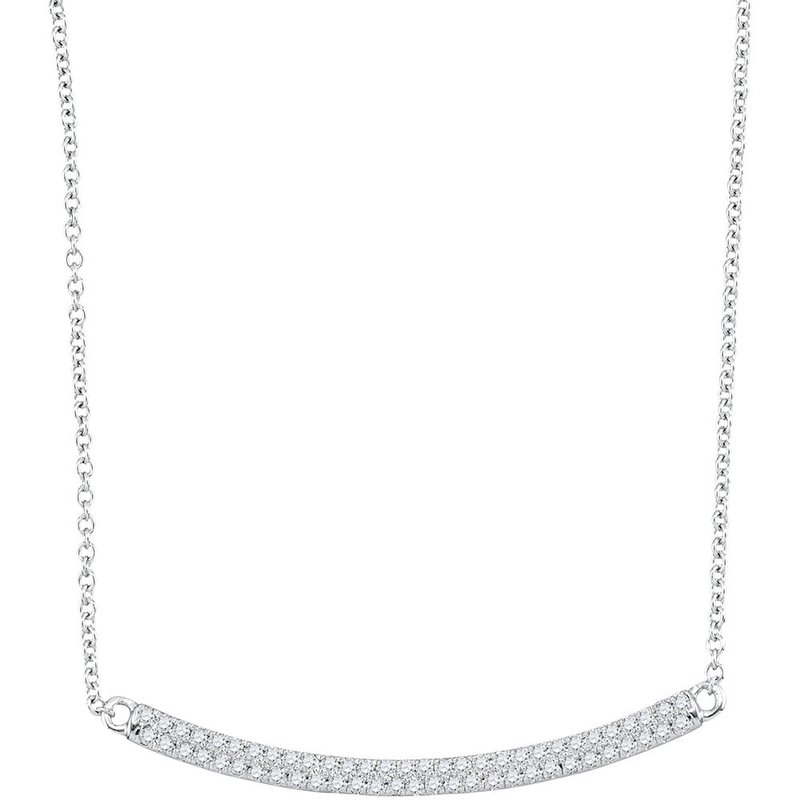 Kingdom Treasures 10kt White Gold Womens Round Diamond Curved Horiontal Bar Pendant Necklace 1/3 Cttw