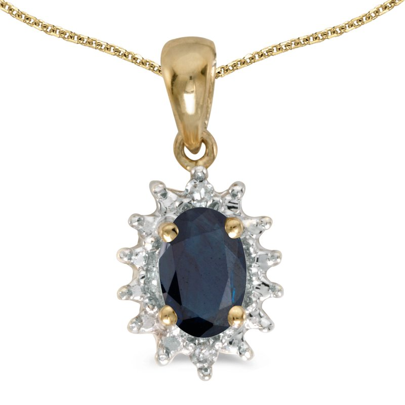 10k Yellow Gold Oval Sapphire And Diamond Pendant