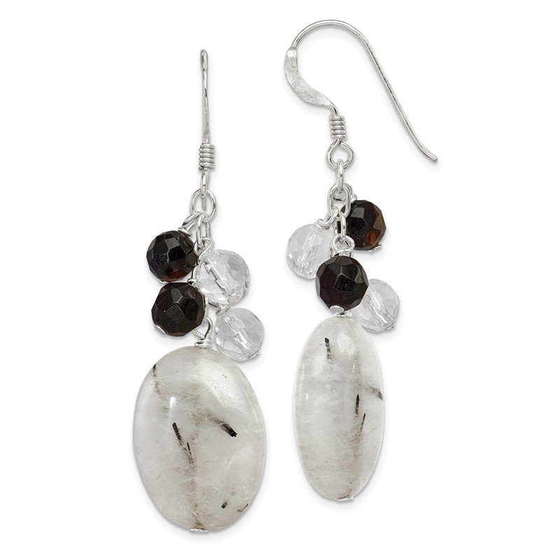 Quality Gold Sterling Silver Black Agate/Crystal/Tourmalinated Quartz Earrings