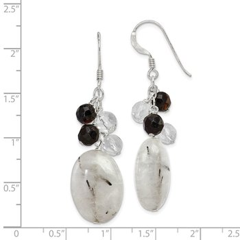 Sterling Silver Black Agate/Crystal/Tourmalinated Quartz Earrings