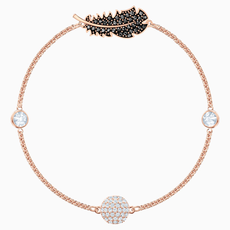 Swarovski Swarovski Remix Collection Feather Strand, Black, Rose-gold tone plated