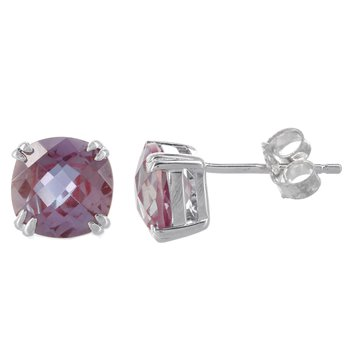 Sterling Silver Created Alexandrite Stud Earrings
