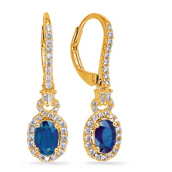 Yellow Gold Sapphire & Diamond Earring