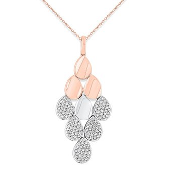 Diamond Multi Teardrop Necklace in 14k White and Rose Gold with 115 Diamonds weighing .95ct tw.
