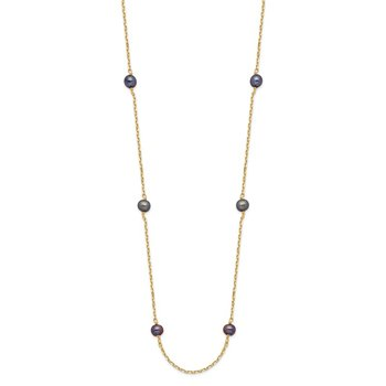14K 5-6mm Black Near Round Freshwater Cultured Pearl 9-station Necklace