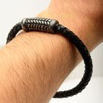 INOX Black Leather Bracelet with Antique Steel Patterned Magnetic Center Buckle