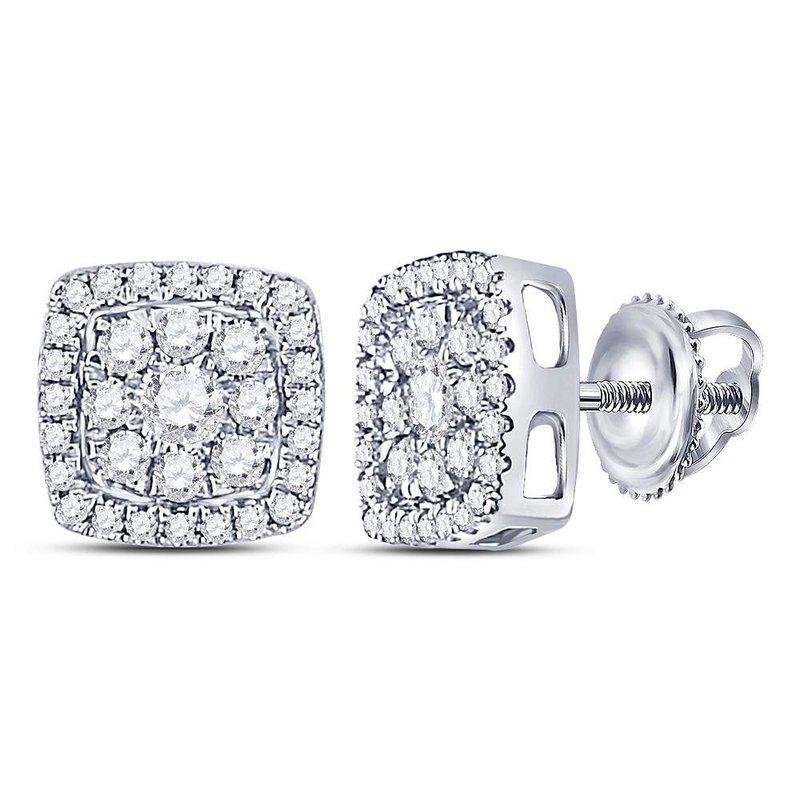 Kingdom Treasures 14kt White Gold Womens Round Diamond Square Cluster Earrings 1/2 Cttw