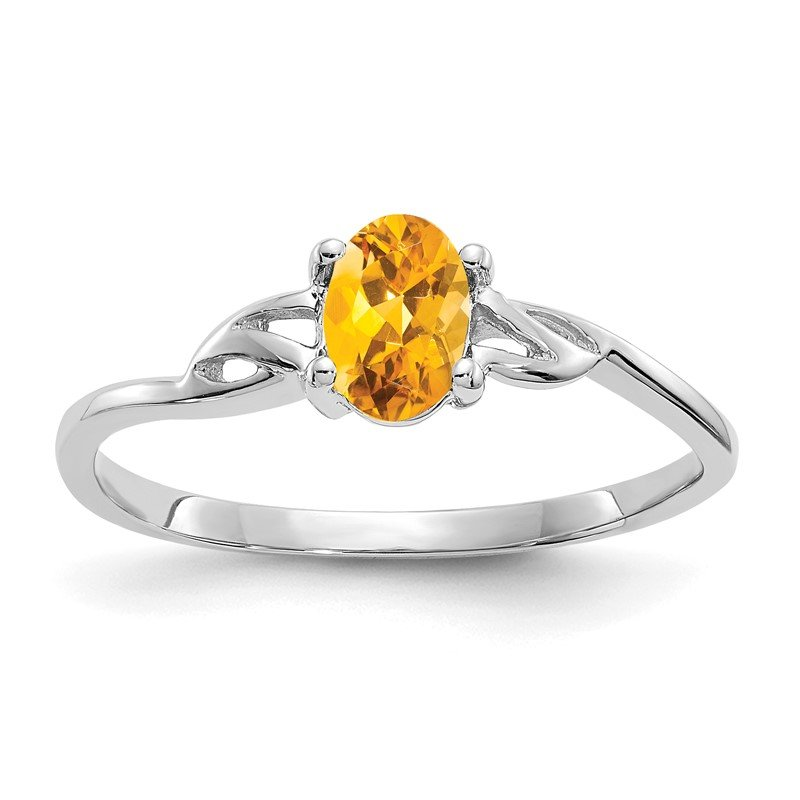 Quality Gold 10k White Gold Polished Geniune Citrine Birthstone Ring