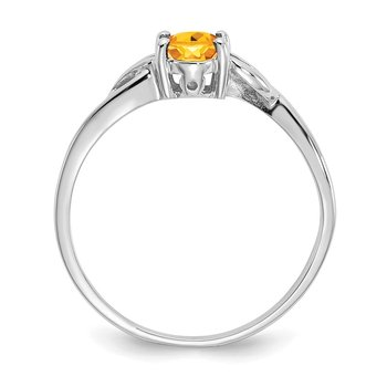 10k White Gold Polished Geniune Citrine Birthstone Ring