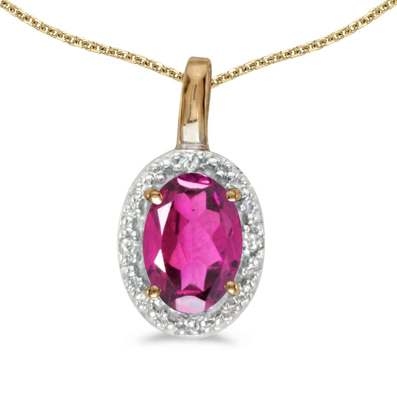 Color Merchants 10k Yellow Gold Oval Pink Topaz And Diamond Pendant