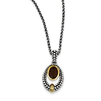Sterling Silver w/Gold-tone Flash Gold-plated Smoky Quartz 18in Necklace